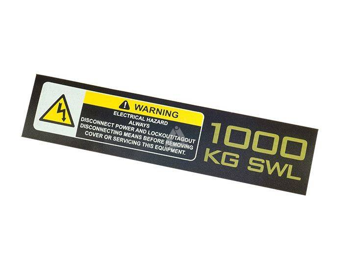 1000kg SWL / elec. hazard, model 2008 sticker